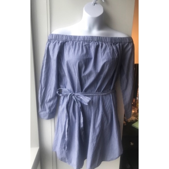 Dresses & Skirts - Pinstripe Off-the-Shoulder Dress